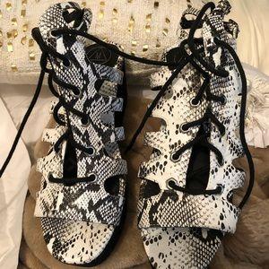 Missguided Snakeskin Platform Sandals